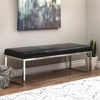 Clay Alder Home Manhattan Black and Stainless Steel Modern Leather Bench