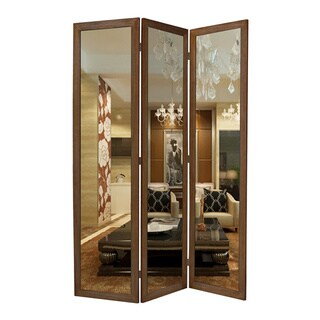 Handmade Mirror 3-Panel Wood Screen (China)