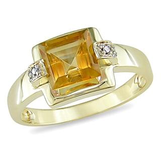 Miadora 10k Yellow Gold 1 1/2ct TGW Citrine and Diamond Ring