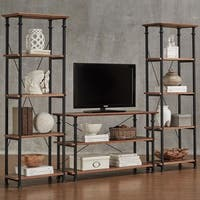 Myra Vintage Industrial Modern Rustic 3-piece TV Stand Set by iNSPIRE Q Classic
