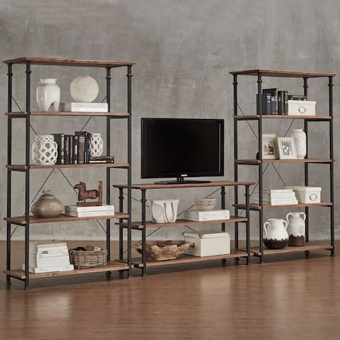 Myra Vintage Industrial Modern Rustic 3-piece TV Stand & 40-inch Bookcase Set by iNSPIRE Q Classic - 3 Piece Set