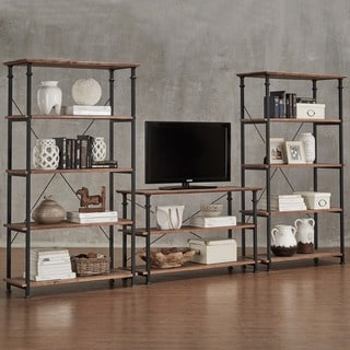 Myra Vintage Industrial Modern Rustic 3-piece TV Stand and 40-inch Bookcase Set by TRIBECCA HOME