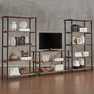 Myra Vintage Industrial Modern Rustic 3-piece TV Stand & 40-inch Bookcase Set by iNSPIRE Q Classic