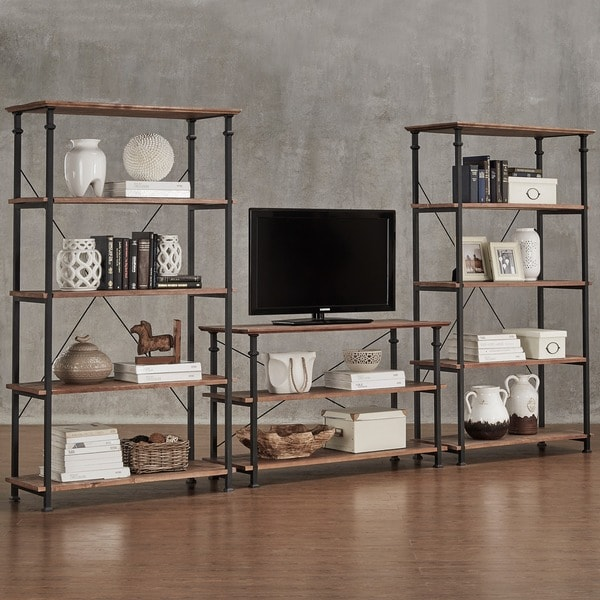Shop Myra Vintage Industrial Modern Rustic 3 Piece Tv Stand Amp 40 Inch Bookcase Set By Inspire Q