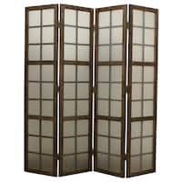 Handmade Eglomise Brown 4-panel Glass Screen (China)