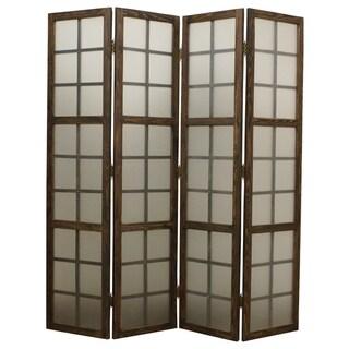 Handmade Eglomise Brown 4-panel Glass Screen (China)