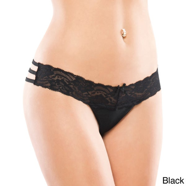 Coquette Women's Scalloped Lace Lycra Thong