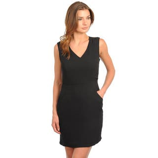 Stanzino Women's Sleeveless V-neck Black Structured Dress|https://ak1.ostkcdn.com/images/products/8171517/8171517/Stanzino-Womens-Sleeveless-V-neck-Black-Structured-Dress-P15510455.jpg?impolicy=medium