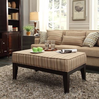 INSPIRE Q Ashland 42-inch Mocha Brown Stripe Upholstered Cocktail Ottoman