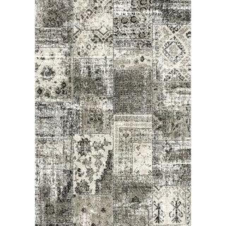 Eternity Patchwork Black/ Silver Rug (5'3 x 7'7)