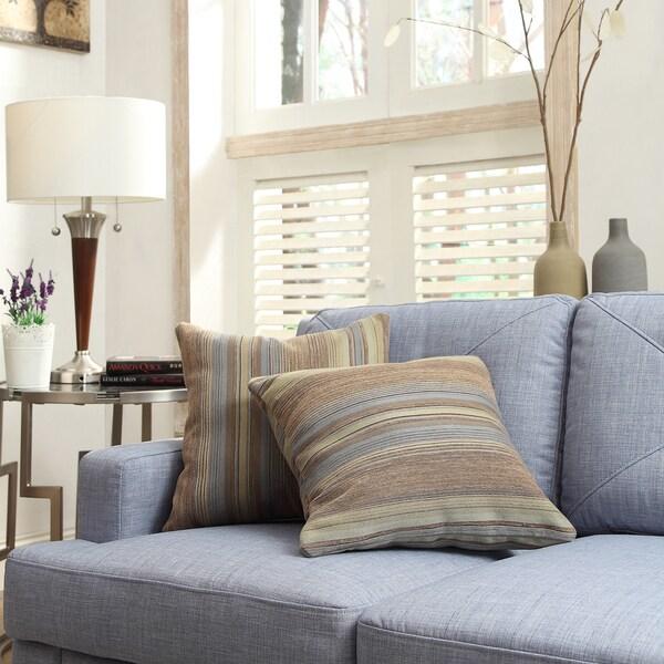 INSPIRE Q Clybourn 18-inch Toss Mocha Tonal Stripe Accent Pillow (Set of 2)
