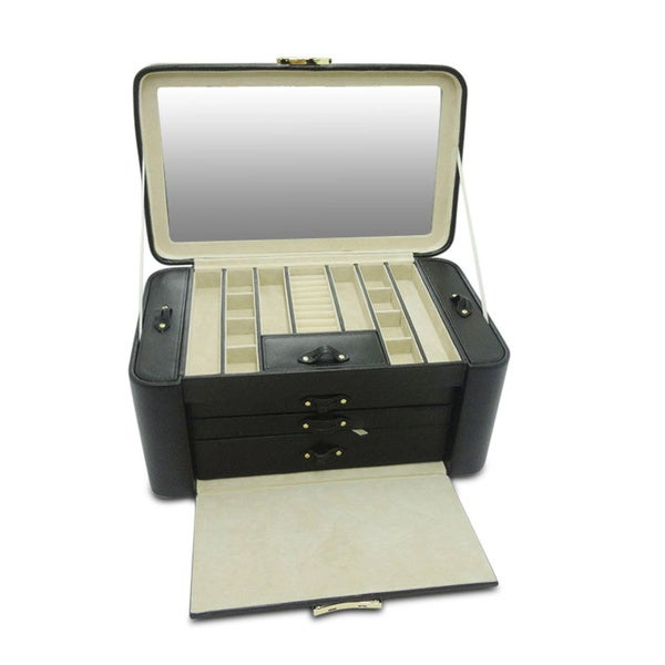 Morelle & Co Black Leather Large Pull-out Jewelry Box