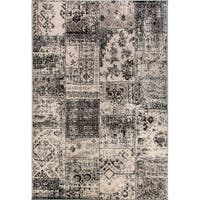 Eternity Patchwork Black/ Silver Rug - 7'10 X 11'2