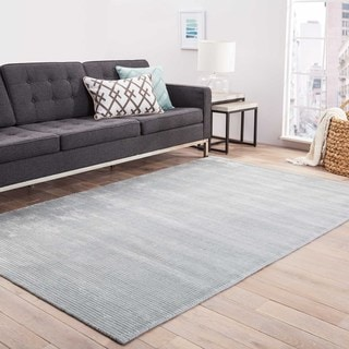 Hand-loomed Solid Pattern Blue Rug (2' x 3')