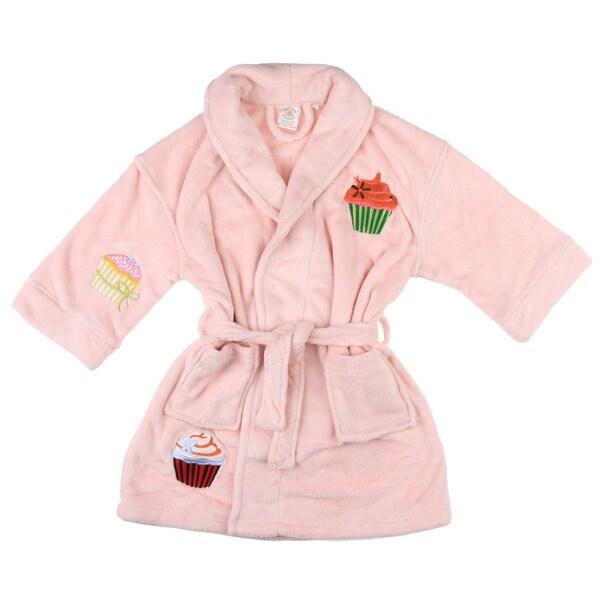 Aegean Apparel Girls Pink Cupcake Applique Bathrobe