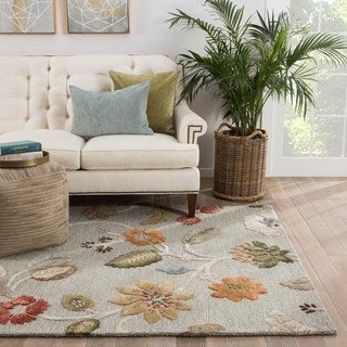Hand-tufted Transitional Floral Pattern Blue Wool Rug (3'6 x 5'6)
