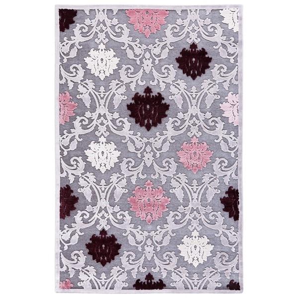 Purple Viscose Rug: Transitional Floral Pink/ Purple Rug (5' X 7'6)