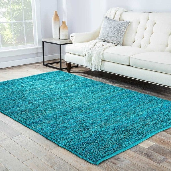 Artemisa Natural Solid Turquoise Area Rug (5' X 8')