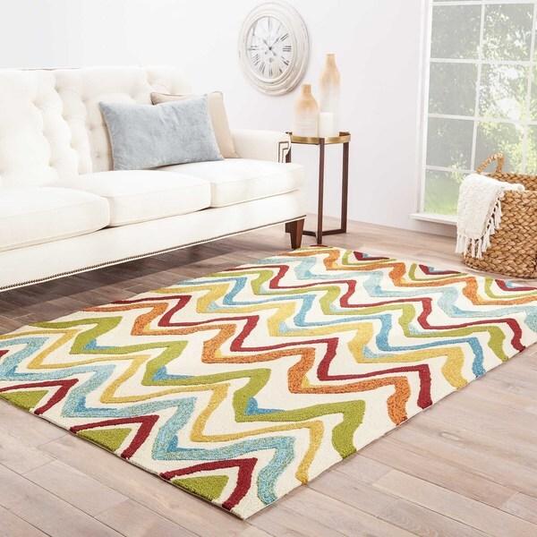 """Sol Indoor/ Outdoor Chevron White/ Multicolor Area Rug (5' X 7'6"""") - 5' x 7'6"""""""