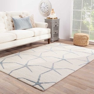 Hand-tufted Transitional Coastal Pattern Ivory Rug with Plush Pile (5' x 8')