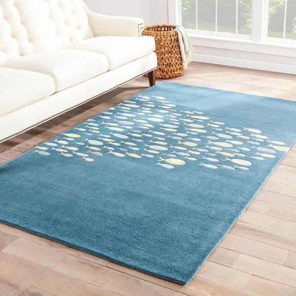 Shoal Handmade Animal Blue/ Gray Area Rug (5' X 8')