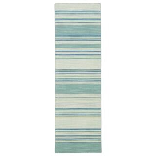 """Camden Handmade Stripe Blue/ Turquoise Area Rug (2'6"""" X 8') - 2'6"""" x 8' Runner"""