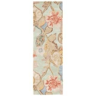 "Clemente Handmade Floral Green/ Multicolor Area Rug (2'6"" X 8')"