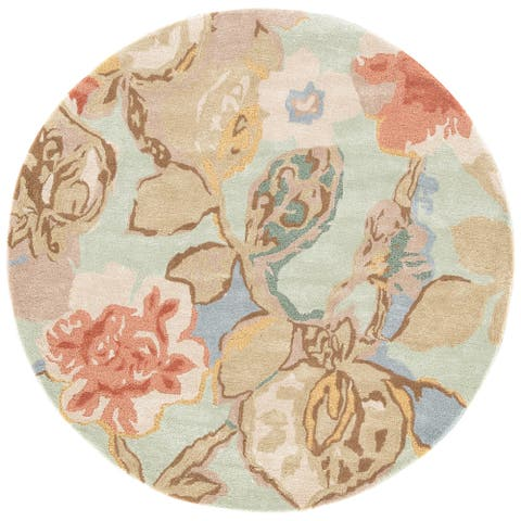 Clemente Handmade Floral Green/ Multicolor Area Rug (10' X 10') - 10' x 10' Round
