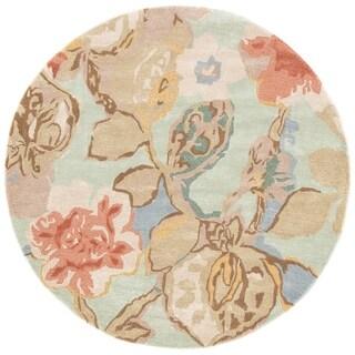 Clemente Handmade Floral Green/ Multicolor Area Rug (10' X 10')
