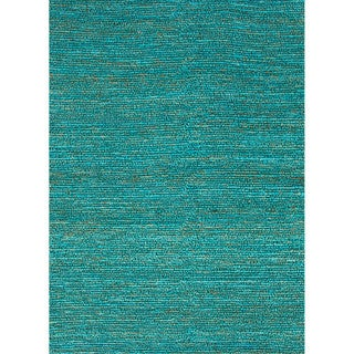 Hand-woven Naturals Solid Pattern Blue Rug (3'6 x 5'6)