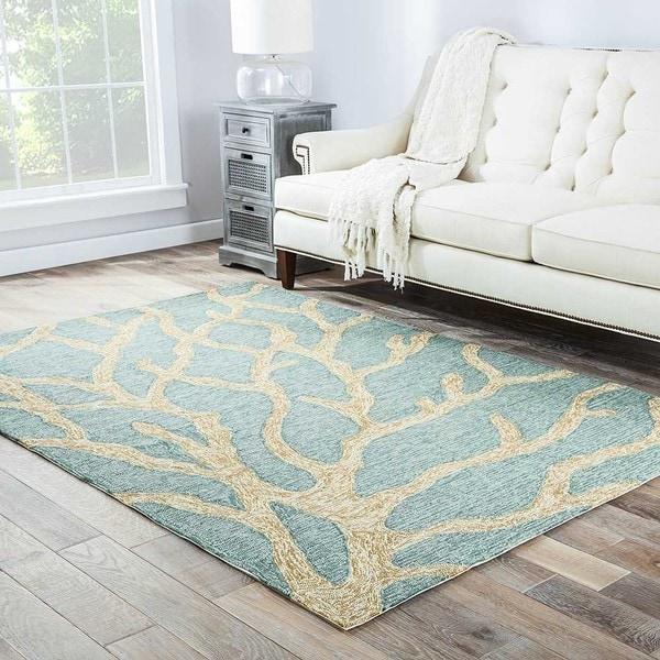 """Coronado Indoor/ Outdoor Abstract Teal/ Tan Area Rug (3'6"""" X 5'6"""")"""