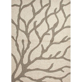 Ivory Hand-hooked Indoor/ Outdoor Abstract Area Rug (3'6 x 5'6)