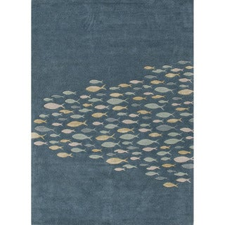 Hand-tufted Transitional Animal Print Pattern Blue Rug (3'6 x 5'6)