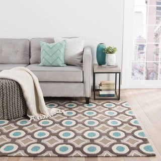Hand-tufted Contemporary Geometric Pattern Blue Rug (3'6 x 5'6)
