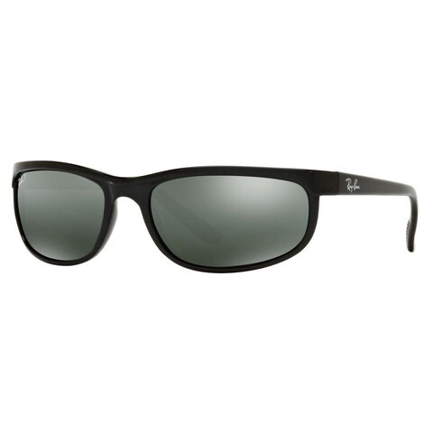 Ray-Ban Men's Predator 2 Glossy Black Plastic Sunglasses with Grey Mirror Lenses