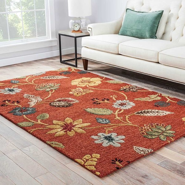 Bloomsbury Handmade Floral Red/ Multicolor Area Rug