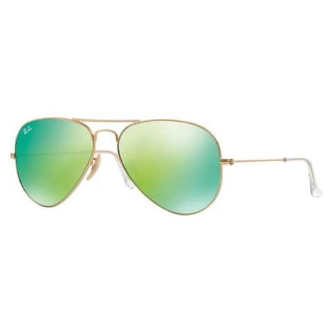 Ray-Ban Aviator RB3025 Unisex Gold Frame Green Flash Mirror Lens Sunglasses