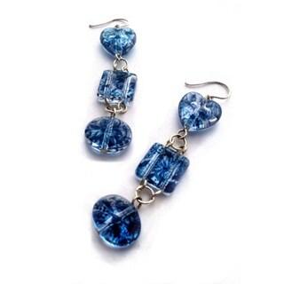 Blue Floral Print Earrings