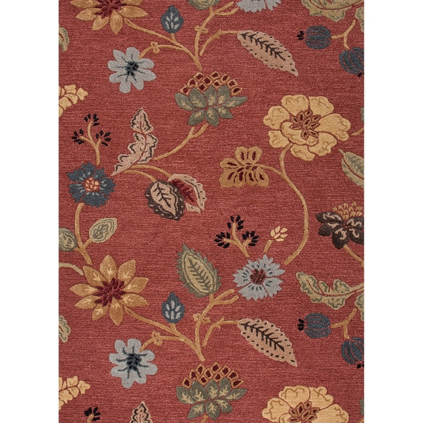 Hand-tufted Transitional Floral-pattern Red/ Orange Textured Rug (8' x 11')