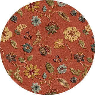 Hand-tufted Transitional Floral Pattern Red/ Orange Rug (6' Round)