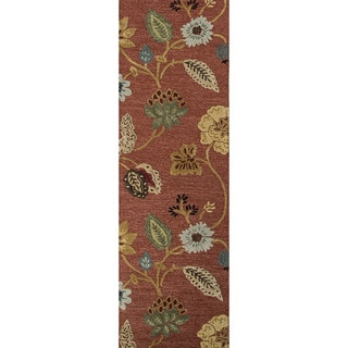 Hand-tufted Transitional Floral Pattern Red/ Orange Plush Rug (2'6 x 8')