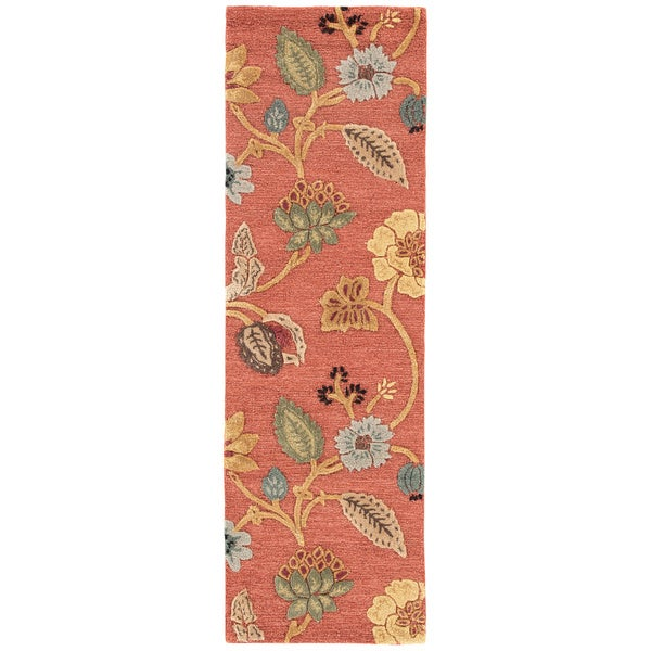 "Bloomsbury Handmade Floral Red/ Multicolor Area Rug (2'6"" X 8') - 2'6 x 8'"