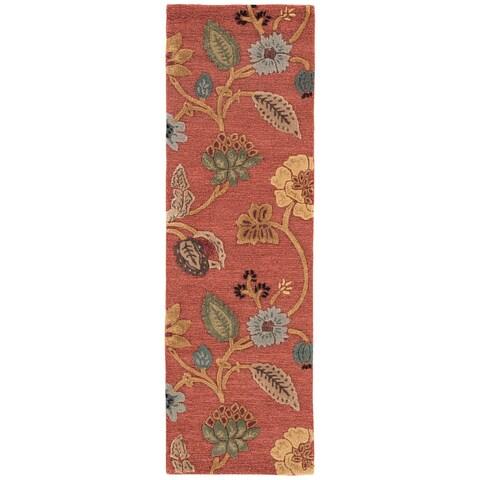 "Bloomsbury Handmade Floral Red/ Multicolor Area Rug (2'6"" X 8') - 2'6 x 8'"