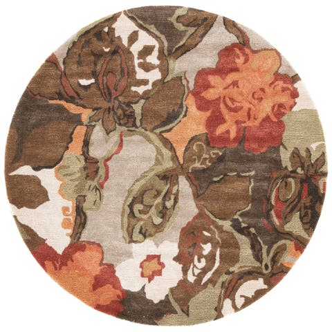 Clemente Handmade Floral Light Gray/ Multicolor Area Rug - 6' x 6' Round