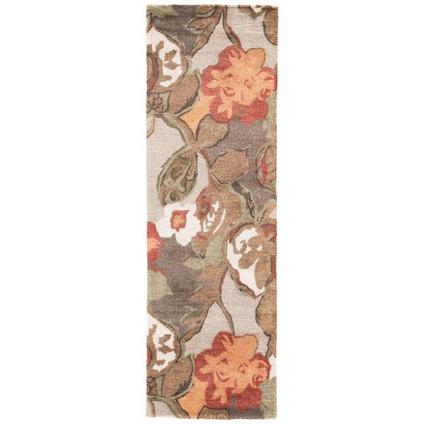 """Clemente Handmade Floral Light Gray/ Multicolor Area Rug (2'6"""" X 8') - 2'6 x 8'"""