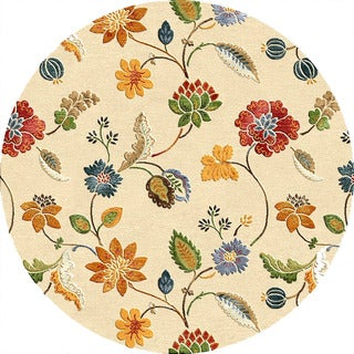 Hand-tufted Transitional Floral Pattern Ivory Rug (6' Round)
