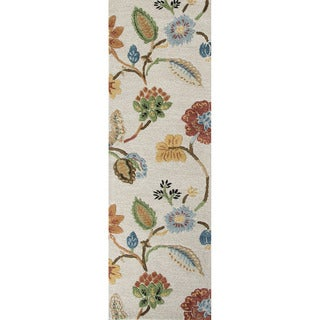 Hand-tufted Transitional Floral Pattern Ivory Rug (2'6 x 8')