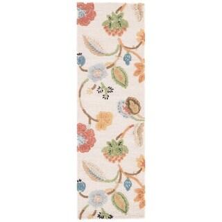"Bloomsbury Handmade Floral White/ Multicolor Area Rug (2'6"" X 8') - 2'6"" x 8' Runner"