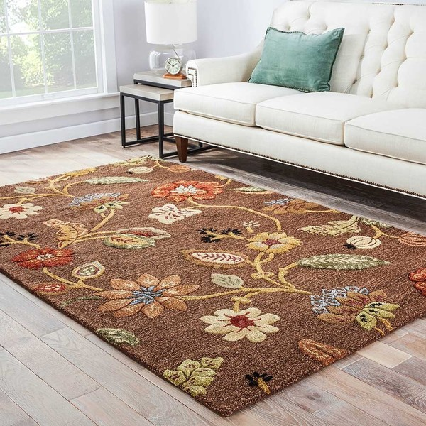 Bloomsbury Handmade Floral Brown Multicolor Area Rug 8