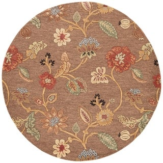 Bloomsbury Handmade Floral Brown/ Multicolor Area Rug (8' X 8') - 8' x 8'